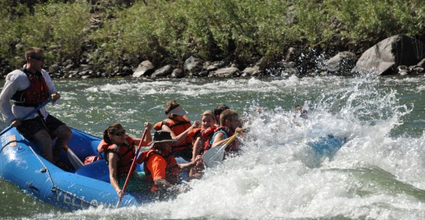 Big splashes rafting on the Yellowstone River